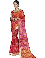 Kataria Online Red Color Georgette Saree - Vipul 17001