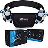 Hydration Running Belt With 2 BPA Free Bottles By Fiber Road Elastic Waterproof Neoprene Waist Pouch For Men Women Kids Adjustable Fanny Pack For Hiking Sports Outdoors Bonus Wrist Wrap