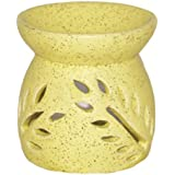 Small Dual Leaf Yellow Ceramic Candle Oil Diffuser (Diffuser Size (in Cms): 8 X 8 X 9)