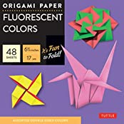 """Origami Paper - Fluorescent - 6 3/4"""" - 49 Sheets: (Tuttle Origami Paper) (Origami Paper Packs)"""