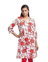 Lotus Veda Womens Unstitched Kurti Dress Material - (Red) - Chintz 18