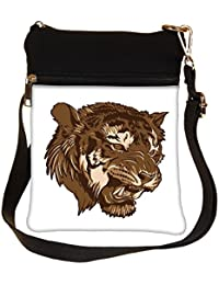 Snoogg Vector Tiger Cross Body Tote Bag / Shoulder Sling Carry Bag