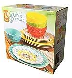 Laurie Gates - 12 Piece Melamine Dinnerware Set (Yellow & Orange & Green & Blue) [並行輸入品]