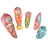 Rajgharana Handicrafts Multi Color Wooden Wall Hanging Face Sculpture (Set Of 5) - (12 Cm X 38 Cm)