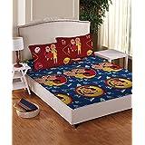 Motu Patlu- Athom Trendz- Cotton Double Bed Sheet Set- Blue