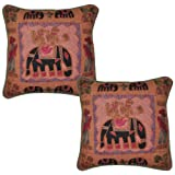 Traditional Vintage Embroidered Elephant Indian Cotton Cushion Cover Pillow Cover 17 Inches 2 Pcs