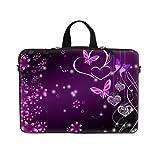 14 14.1 Inch Pink Flower Butterfly Design Laptop Sleeve With Hidden Handle & D Ring Hook Eyelets For Shoulder...