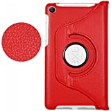HOKO® Flip Cover Case For Google Nexus 7 2013 (2nd Generation) 360 Degree Rotating Leather Case With Flip Kickstand -Red