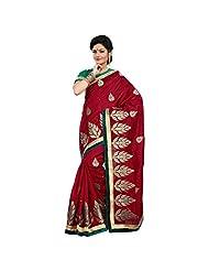 Alluring Maroon Colored Embroidered Bhagalpuri Silk Saree By Triveni
