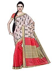 ISHIN Bhagalpuri Silk Peach & Off White Printed Saree