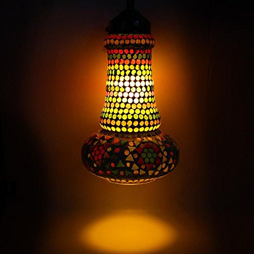 EarthenMetal Handcrafted Multicoloured Mosaic Hanging Light - B018BBXMIG