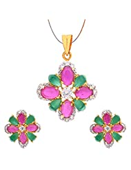 Jewelshub Gold & Silver Gold Plated Pendant Set For Women - B00XCXXZDG