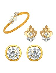 Combo Of Two Pair Of Earrings And A Bracelet Made With Crystal And CZ For Women CO1104115G