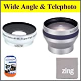 30mm 2X Telephoto Lens + 30mm 0.45x Wide Angle Lens With Macro For DCR-SR68 80GB Hard Disk Drive Handycam Camcorder + MicroFiber Cleaning Cloth + LCD Screen Protectors