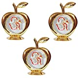 Set Of 3 - Golden Apple Om Idol For Car Dashboard / Home / Office Perfect Gift Item - 3.5 X 2.5 Inch