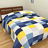 SS SALES Microfiber Blue Yellow Check Print Double Bed Dohar/AC Blanket