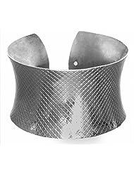 DollsofIndia White Carved Metal Cuff Bracelet - Metal - White - B00VNWQNIW
