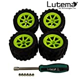 Lutema Hyp-R-Baja 2.4Ghz Big Bruiser Complete Set Of Color Wheels With Tires - Green