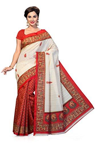 ISHIN Bhagalpuri Silk Red & Beige Printed Saree