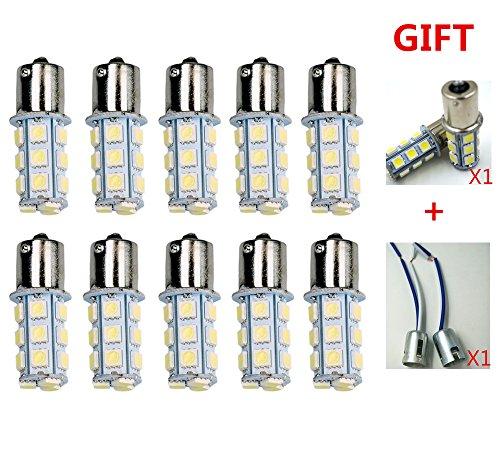 ZHOL® 1156 7506 1003 1141 LED SMD 18 LED Bulbs Interior RV Camper White 10-pack(Extra 2 more+1141 Bulb Socket 2pcs)