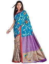 Inddus Blue Printed Art Cotton Saree With Bhagalpuri Blouse Piece