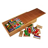 100 Pieces Wooden Multicolor Flag Domino Set In Wooden Box For Kids Ages 5+ Years