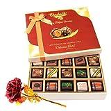 Valentine Chocholik's Belgium Chocolates - Cheerful Pralines Chocolates With 24k Red Gold Rose