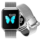 Apple Watch Band W Metal Clasp, Aerb Milanese Loop Stainless Steel Mesh Replacement Strap Wrist Band For Apple...