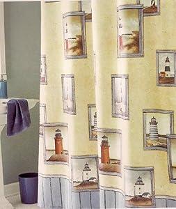 Amazon.com - Painterly Lighthouse Fabric Shower Curtain