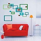 Blue Square Modren Wall Art Sticker For Living Room Décor