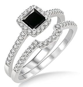 1.5 Carat Black Diamond Halo Bridal Set on 10k White Gold