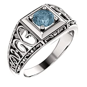 18K White Gold Round Cut Blue and White Diamond Solitaire Ring