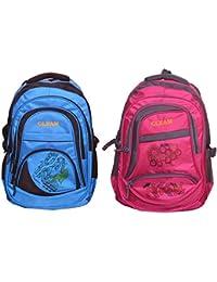 GLEAM SKY BLUE & PINK POLYESTER SCHOOL BAG (set Of 2 Bags)
