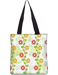 Snoogg Digital Seamless Floral Pattern Fashion Printed Shopping Shoulder Lunch Tote Bag For Women