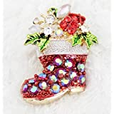 2015 Foreign Trade In Europe And America Selling Christmas Socks Gift Jewelry Red Rhinestone Brooch Shoes