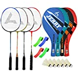 Guru JerryBR05 Series-COMBO-4 Badminton Racquets Set Pack Of Four With Four Cover Six Shuttlecock & Four Hand...