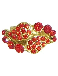 Red Stone Studded Paisley Design Ring - Stone And Metal