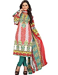 Sonal Trendz White & Red Color Polycotton Printed Dress Material.Party Wear Festive Wear. - B019J1CTAY