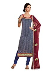 Ali Colours Glamrous Cotton Embroidered Dress Material With Pure Chiffon Dupatta For Women - B00WX2N0Z0