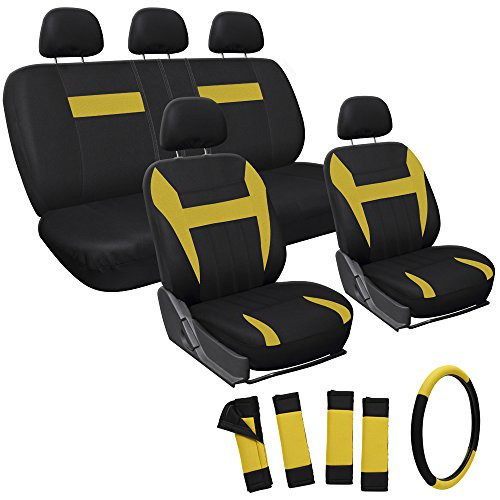 Oxgord 17pc Set Flat Cloth Mesh / Yellow & Black Auto Seat Covers Set – Airbag Compatible – Front Low Back Buckets – 50/50 or 60/40 Rear Split Bench – 5 Head Rests – Universal Fit for Car, Truck, Suv, or Van – FREE Steering Wheel Cover