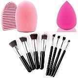 Comier Silver & Black Premium Synthetic 10pcs Kabuki Style Professional Make Up Eye Shadow Brush Set Foundation...