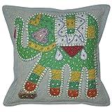 Lalhaveli Elephant Design Patchwork Cotton Pillow Cover 16 Inches 1 Pc - B00MXSJOTK