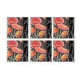 Leaf Designs Black And Red Floral Coaster - Set Of 6