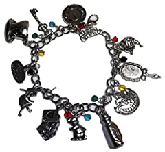 Alice in The Wonderland ( 11 Themed Charms) Silvertone Charm Bracelet