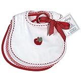 Raindrops Primary Teething Bib Set, White/Red