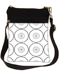 Snoogg Black Layered Circle Cross Body Tote Bag / Shoulder Sling Carry Bag