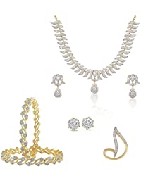Zcarina American Diamond Necklace With Earring Set, Stud Earring, Ring And Bangles Set For Women