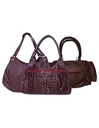 H&H Women Combo Palatial + Magnificent + Allure Hand Bag - Maroon