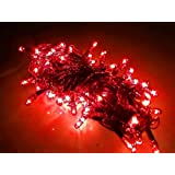 Diwali Lights Pack Of 25 Rice Lights | 12.5 Meter / 41 Feet Long | 81 Bulbs In RED Colour