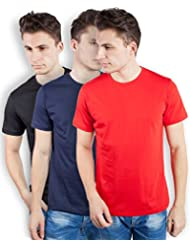 TOMO Men's Cotton Solid Color Round Neck T-shirt Combo Pack Of 3